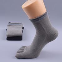 Wholesale Toe Socks For Fingers - Toe Socks Cotton Running Five Finger Crew Socks for Men Women Men's Excellent breathable Stretch Comfort Crew Toe Socks 2-6 Pairs