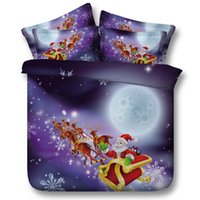 Wholesale Christmas Queen Size Comforter - 3D Illusion Merry Christmas Cotton Santa Claus Riding Elk 4 Pcs Bedding Sets Twin Full Size 100% Cotton Quilt Duvet Cover Flat Fitted Bed Sh