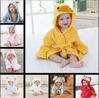 Wholesale Kids Bathrobe Hooded Wholesale - DHL cute animal bathrobe Flannel Kids shark fox mouse owl model Robes cartoon Nightgown Children Towels Hooded bathrobes JC209