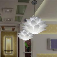 iq ışıkları toptan satış-Satışa en düşük fiyat DIY Modern çam kozalağı Kolye ışık yaratıcı zambak lotus roman led e27 35/45/55 cm iq bulmaca lambası beyaz