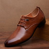 Wholesale Men S Wedding Dress Shoes - big size 48 Free Shipping Men 's business casual shoes genuine leather breathable leather pointed toes men' s lace-up fashion shoes