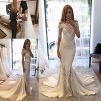Wholesale Cheap Couture Gowns - Steven Khalil 2017 Berta pallas couture Spring Collection Off-shoulder Mermaid Wedding Dresses with Long Sleeves Arabic Cheap Wedding Gowns