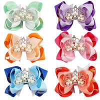 Wholesale Tiara Hair Clips For Kids - Solid Ribbon Hair Bow For Kids Handmade Organza Stacked Boutique Hair Bow Shining Rhinestone Pearl Crown with Ribbon Covered Hair Clips