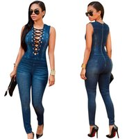 Wholesale Slim V Tank - Sexy women V Neck Denim Slim Jumpsuit Jeans Sleeveless Bodysuit Denim Romper Hole Jean Tank Jumpsuit