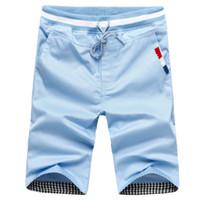 Wholesale Slim Short Free Shipping - Plus Size 4XL Summer Men Shorts Cotton Beach Shorts Solid Color Casual Shorts Bermuda Masculina 7 Colors Sports short pants free shipping