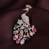 Wholesale Wholesale Costume Diamond Jewelry - Crystal Rhinestone Enameling Peacock Pin Brooch Fashion wedding party costume jewelry gift brooches