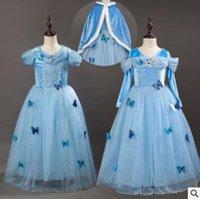 Wholesale Costume Children Cinderella - Princess Halloween Party Evening Costume Cinderella Children Cosplay Dress Party Girl Princess Cloak Butterfly Dresses Kids Girls Dresses