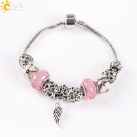 Wholesale Antique Grey - CSJA Angel Wing Pan Bracelet Hollow Antique Silver Plated Love Heart Jewelry Pink Purple Grey Flower Glass Beads Bangle E139
