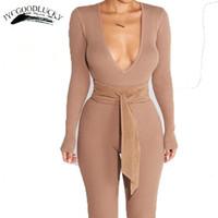 Wholesale Knit Jumpsuits For Women - Deep V Rompers Knit Large Size Jumpsuit Romper For Women Long Elastic Sexy Slim Jumpsuits No Waist Belt Elegant Simple Overalls