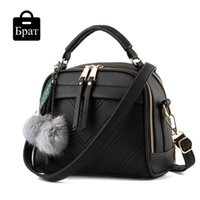 Wholesale Bags Fashion For Ladies - Wholesale-2016 shell crossbody bags for women leather handbags tassel small flap bag ladies over the shoulder hairball black messenger bag