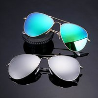 Wholesale Glasses Aviator Box - New Aviator Polarized Sunglasses 58mm Pilot Men Women Fashion UV400 Band Vintage Mirror Glass Sun Glasses with box