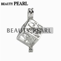 Wholesale Sterling Heart Love - 5 Pieces Love Heart Box Locket Cage Pendant Pearl Mountings Wish Pearl 925 Sterling Silver Gift Pendant