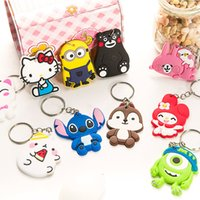 Wholesale Heart Cross Stitch - New Cartoon Keychain Stitch Minions Mike Wazowski Key Rings Kumamon Hello Kitty Cool Keychains Gift for Women Kids