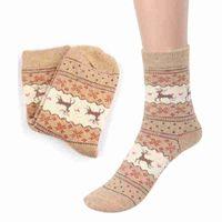 Wholesale Hosiery Designs - Wholesale-New Design Christmas Deer Print Casual Knit Wool Socks Warm Winter Women Hosiery Feminino Compression Feminino #OR