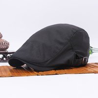Wholesale Short Hat Army Caps - Wholesale-Men Women Minimalism Duckbill Beret Caps Adjustable Golf Sun Hats Solid Army Plain Casual Cotton Short Brim Flat Peaked Cap