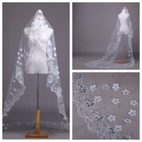 Wholesale Beaded Floral Veils - New Design Bling Bling Sparkling Floral Adorned Long Bridal Veil White Rhinestone Crystal Beaded Cathedral Veil 3M Long
