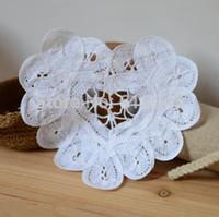 Wholesale doily hearts - Wholesale- Free shipping wholesale 100% cotton hand made Shaped Heart battenburg lace Doily ,cup mat 20PCS LOT 11cm crochet applique