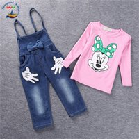 Wholesale Minnie Mouse Overall - 2017 Brand Baby clothes Girls Minnie Mouse suit Summer cotton Kids sets 2-pcs sets T Shirt+Jeans Overalls Girl Children Clothing Set