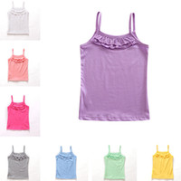 Wholesale Baby Plain Shirt - Summer Baby Clothes Kids Children Plain Solid Color Ruffled Cotton Girl Tank Tops Girls Vest Singlets Tee Sleeveless T-shirts 8 Colors 541