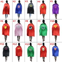 Wholesale Cartoon Deck - 15 Styles 110*70cm Adult Capes Double-deck Costume Cape Superhero Cape for Big Kids Christmas Halloween Cosplay Prop Costumes Free Shipping