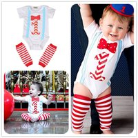 Wholesale First Birthday Outfits - Mikrdoo 2PCS Newborn Infant Baby Girl Romper Outfits Short Sleeve Bow Rompers First Birthday Gift Jumpsuit+Red Striped Leggings Warmer Cloth