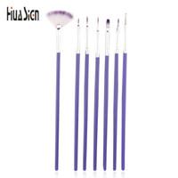Wholesale nail brush for dots - Wholesale- High Quality 7pcs lot Purple Nail Brush For Nail Art Design Painting Dotting Tool free ship