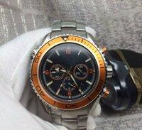 мужские часы швейцарские оранжевые оптовых-Швейцарский бренд 007 мужские профессиональные спортивные часы погружения мода нержавеющей стали оранжевый хронограф наручные часы мужчины Роскошные водонепроницаемые наручные часы