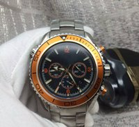 Wholesale Professional Chronograph - Swiss brand 007 Mens Professional sport dive watches Fashion Stainless Steel orange Chronograph wristwatch Men Luxury Waterproof wrist watch