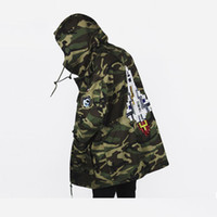 Wholesale Military Style Badges - high quality! Men's Clothing Military Style Windbreaker Outerwear sequins rocket badge Camouflage hooded jacket Coat veste homme