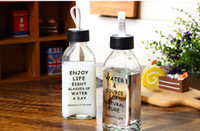 Wholesale Glass Bottles For Milk - 2017 alphabet Creative drinking glass Bottle cup transparent simple black for student Cup Portable Sealed type water Milk mugs wholesale
