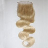 Wholesale Cheap Brazilian Remy Blonde Hair - 4*4 inch Blonde Brazilian Body Wave Lace Closure Bleached Knots #613 Cheap Virgin Remy Human Hair Lace Front Closure Free Middle 3 Part