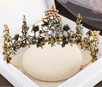 Wholesale clear crystal claw setting - Vintage Crystal Beads Wedding Bridal Crown Hair Accessories Baroque Bronze Tiara Rhinestone High Quality Headpiece Crystals Jewelry Set