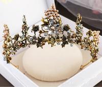 Wholesale plastic animal figures set - Vintage Crystal Beads Wedding Bridal Crown Hair Accessories Baroque Bronze Tiara Rhinestone High Quality Headpiece Crystals Jewelry Set