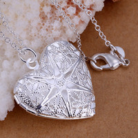 Wholesale Brass Frame Necklace - 10PCS lot Free shipping 925 Sterling silver plated Heart flower frame Pendant LKNSPCP185