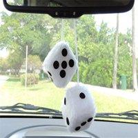 ingrosso dadi bianchi neri-Car Interior Decor Classic peluche Coppia in bianco e nero Hanging Mirror Car Fuzzy Dice Decor