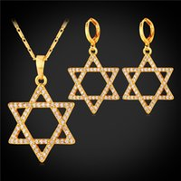 Zirconia cúbica Magen David Necklace Set Mulher Platinum Plated / 18K Real Gold Plated Star of David Necklace Earrings