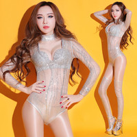Wholesale Fishnet Fabrics - female sexy see-through bodysuit sequins mesh fabric jumpsuit stage costumes lead dance costumes nightclub bar DJ sexy performance clothing