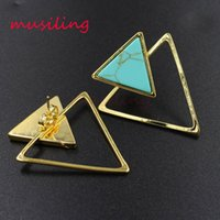 Wholesale Triangle Clip Earrings - musiling Jewelry Earring Stud Triangle Ear Stud Natural Gem Stone Jewelry for Women Ear Clip Earrings Fashion Charms Jewelry