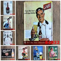 Wholesale Vintage Clock Art - Wine Beer Iron Painting 20*30cm Miller Brewing Company Metal Tin Signs Vintage Gifts Schlitz Tin Poster Hot 4rjq