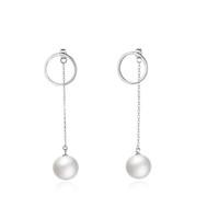 perlenohrketten großhandel-100% S925 Sterling Silber Ohrringe Doppelseitige Kreisring Ohrstecker Perle Kette Ohr Linie Eardrop