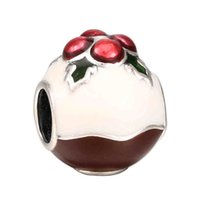 Wholesale Christmas Pudding - Authentic 925 Sterling Silver Bead Charm Red & White Enamel Christmas Pudding Beads Fit Women Pandora Bracelet Bangle Jewelry HKA3424