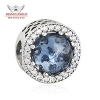 Wholesale European Cz Crystal Beads - Memnon Jewelry 2016 Winter New 925 Sterling Silver Moonlight Blue Crystal & Clear CZ Radiant Hearts Charm Beads For DIY Jewelry Making BE419