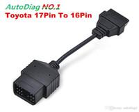 adaptador de cable obd2 toyota al por mayor-Toyota 17 pines a 16 pines OBD OBD2 adaptador Cable cable de interfaz de diagnóstico 17 pines OBDII cable de extensión
