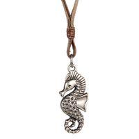 Wholesale Punk Rock Necklaces Women - Wax rope Necklace Punk Vintage Leather Rock Punk Jewelry Men Women Sea Horse Pendant Free Shipping