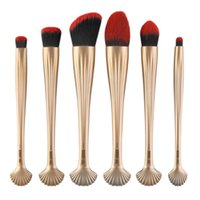 Wholesale foundation basics - 6pcs Makeup Brushes Face Eye Basic Cosmetic Foundation Blush Brush Blending Brush Shell Designs Professional Makeup Brushes Set