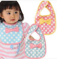 Wholesale Pink Dot Apron - Wholesale- Fashion Magic Button Kawaii Baby Apron Bavoir High Quality Dot Bowknot Newborn Baberos Bandana Bibs Clothing Towel Slabbetjes