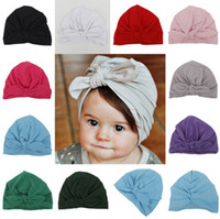 Wholesale Color Plastic Paper - Cute Newborns Bowknot Cap Girls boys 1-6 Year Baby Photography Turban Caps Accessories Kids Rabbit Ears Beanie Hat LC638