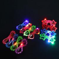 led yıldızlı şekilli ışıklar toptan satış-Flaş Gözlükler Yuvarlak Yıldız Kalp Kelebek Örümcek Şekil Gözlük Plastik LED Işık Up Gözlük Karanlıkta Parlayan 2zj Bkk