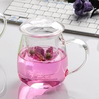 Wholesale Transparent Tea Cups - Heat-Resistant Borosilicate Glass Tea Cup Flower Tea Cup With Strainer Transparent Glass Tea Home Office Drinkware Drop Shipping