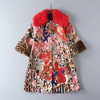 Wholesale American Goat - European and American women's wear 2017 The new winter Goat hair collar Leopard print Cloth coat